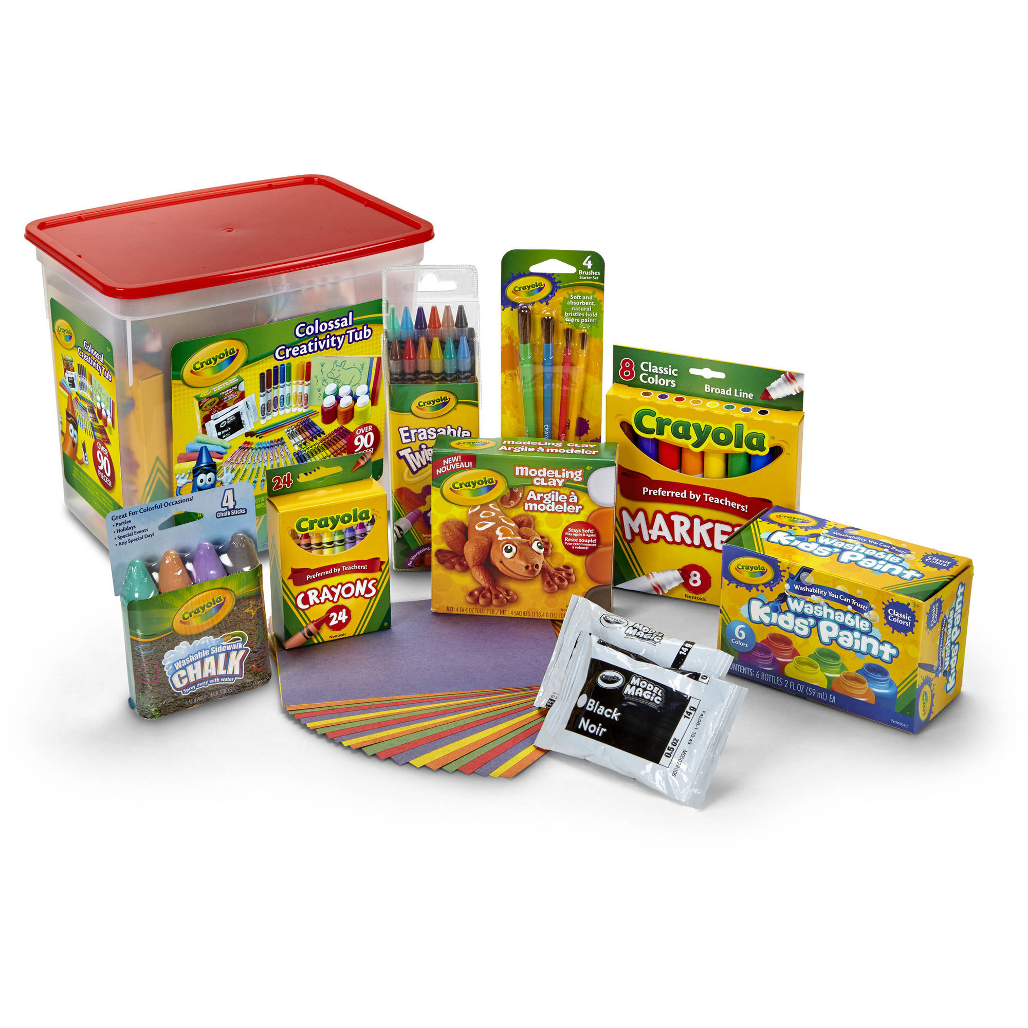 Crayola Colossal Creativity Tub, Over 90 Pieces Includes Crayons, Chalk, Twistable Colored Pencils and More !