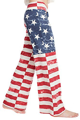 American Flag Patriotic Wide Leg Relaxed Palazzo Pant U.S.A