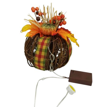 PRE-LIT TWIG PUMPKIN WITH YELLOW PLAID DECORATION RIBBON ()