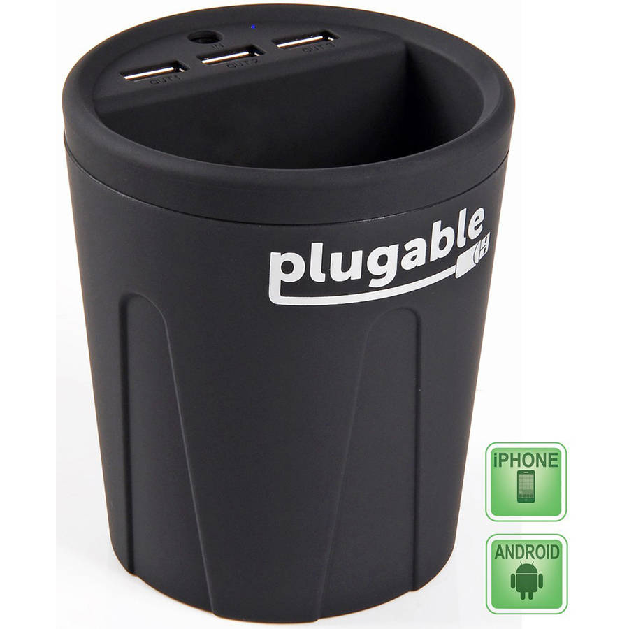 Plugable Power 3-Port USB Smart Charger Cup for Cars