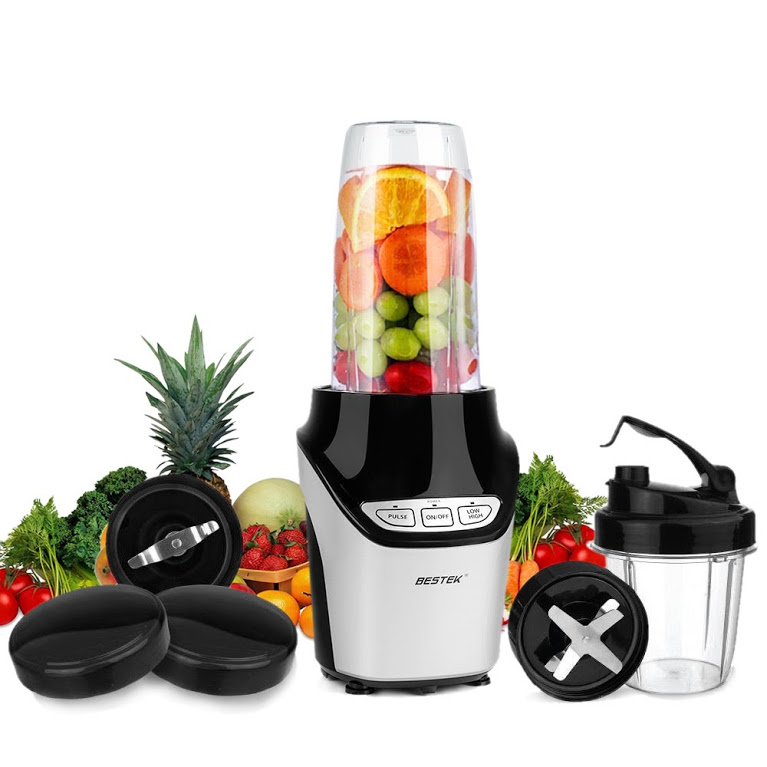 BESTEK 1000 Watts Power Blender Mixer High-Speed Food Extractor Juicer Smoothies Maker 8 Piece Set Food Fruit Processor