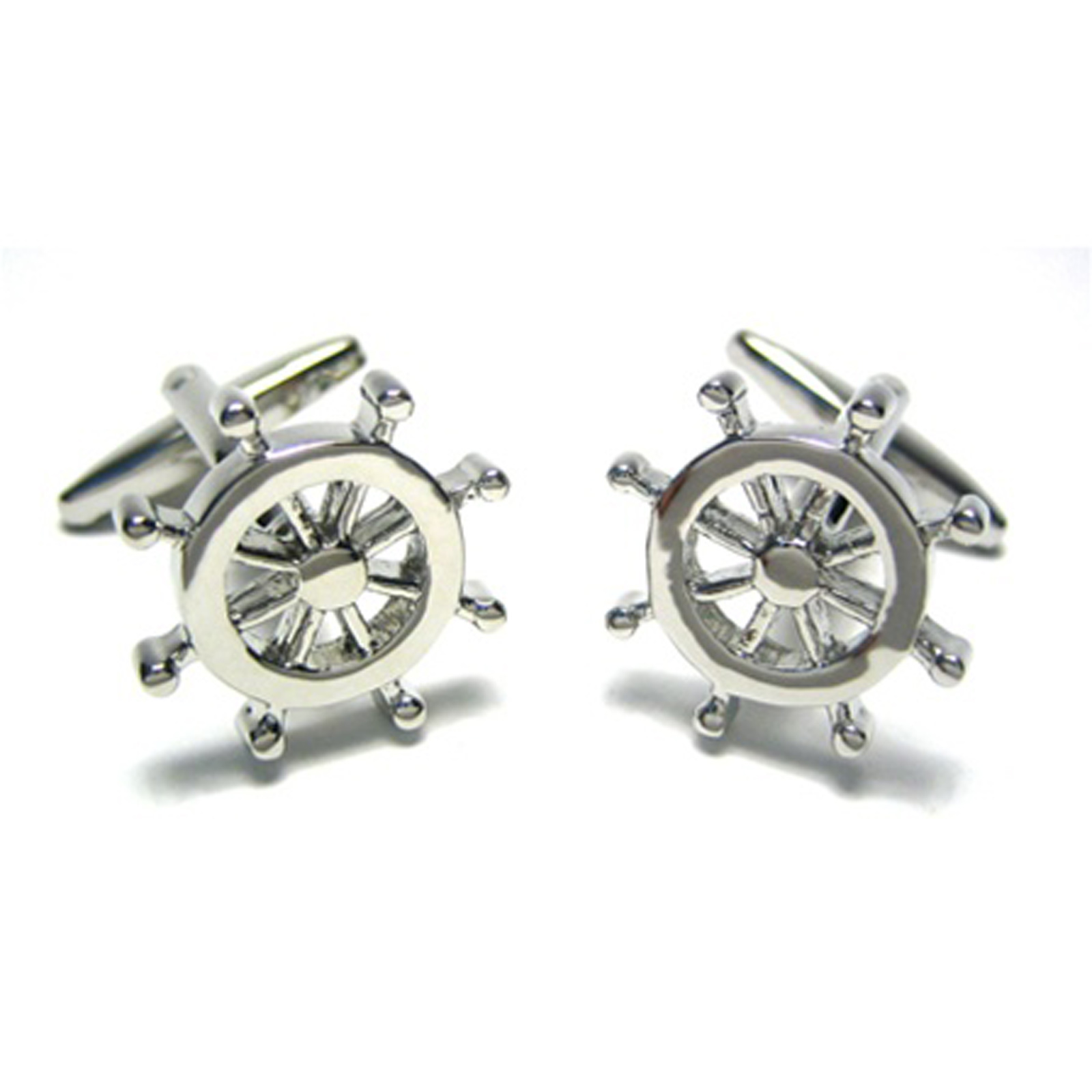 New Silver Boat Wheel Cufflink Boating Sailing Fishing US Navy w/ Gift Box