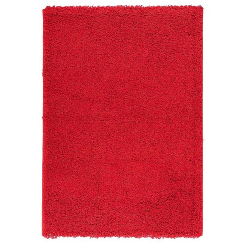 Berrnour Home Solid Plush Shag Area Rug (3'3 x 4'7) Red