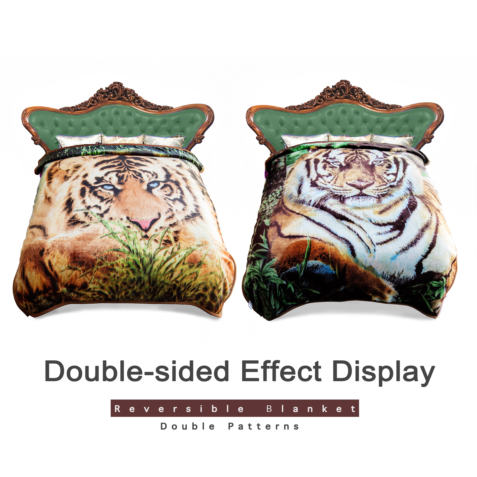 "Home Bedroom Reversible Soft Micro-plush Mink Blanket 2 Ply 2 Sides Tiger Green Printed Warm Raschel Plush Blanket For Bed Queen Size 75""x89"" 5LB"