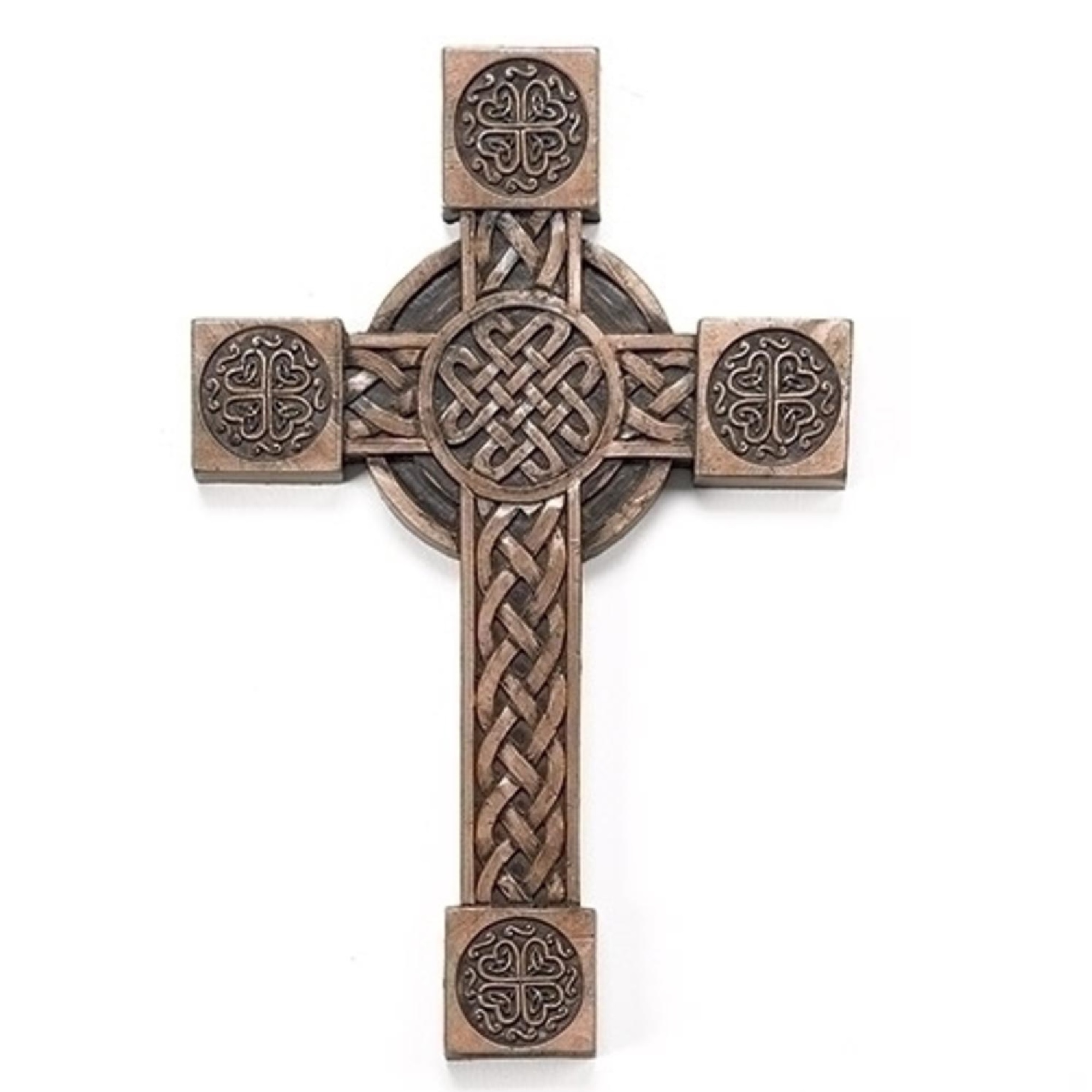 "Roman St. Patrick's Day 8"" Bronze Irish Cross with Celtic Symbols Religious Wall Decoration"