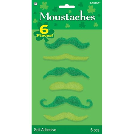 St. Patrick's Day Mustaches 6ct
