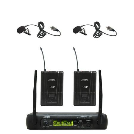 Audio2000s Professional Microphones (Audio2000s 6074UM UHF Dual Wireless Microphone 2 Lavalier )