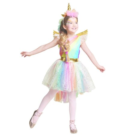 Halloween Christmas Costume Unique Girls' Deluxe Rainbow Unicorn Cosplay - Unique Homemade Costumes