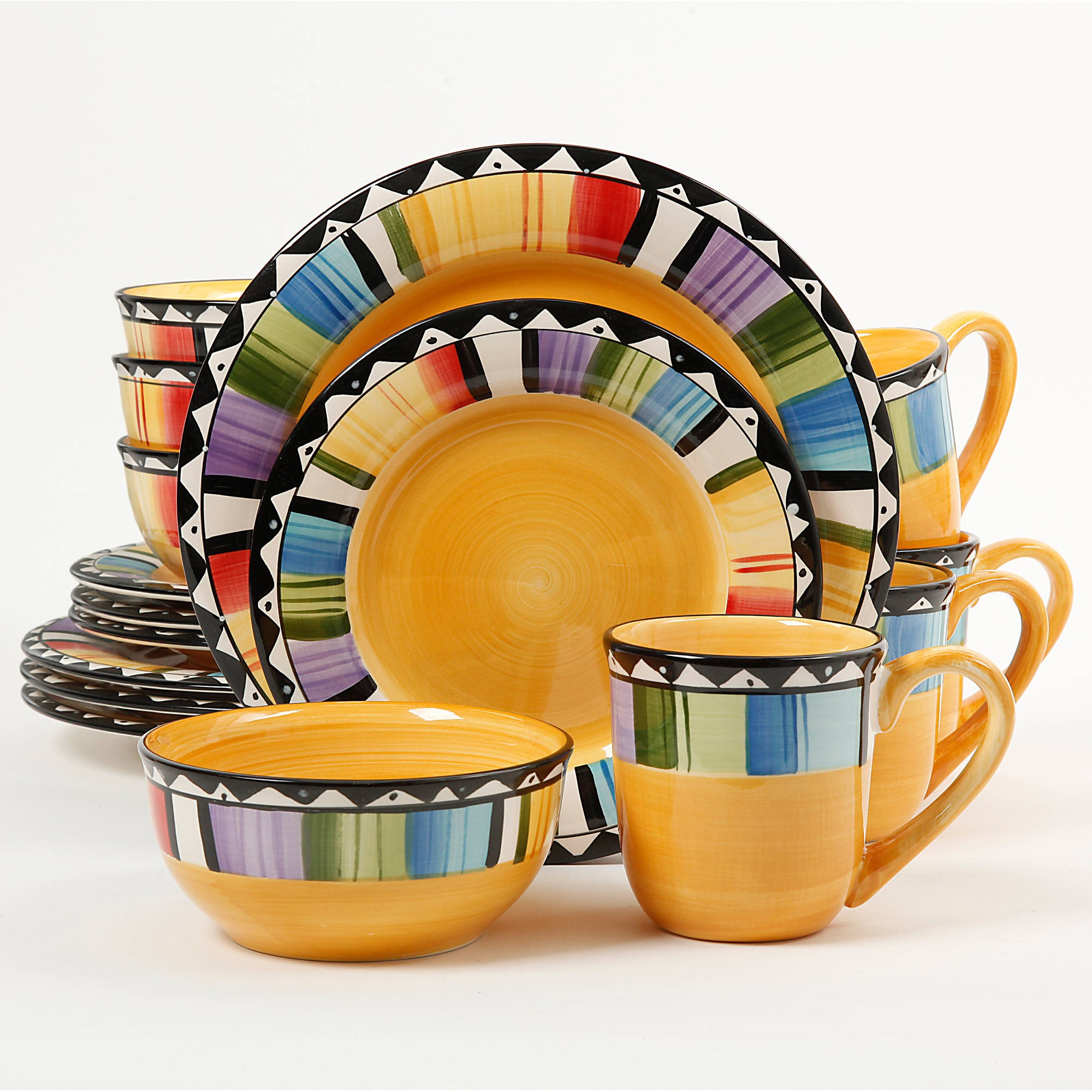 Gibson Home Fandango 16-Piece Dinnerware Set Yellow  sc 1 st  Walmart & Gibson Home Fandango 16-Piece Dinnerware Set Yellow - Walmart.com