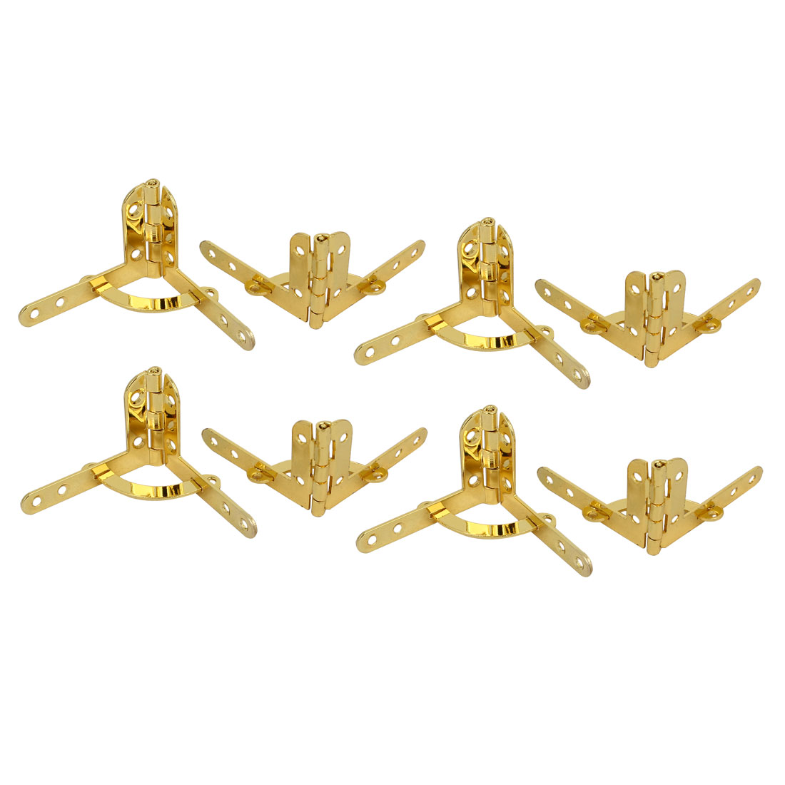 Jewelry Wine Box Wooden Case 90 Degree Support Spring Hinge Gold Tone 8pcs