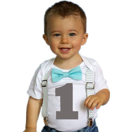 Boys First Birthday Outfit by Noah's Boytique  Cake Smash Outfit Grey Chevron Aqua Bow Grey Number One 6-12 Months](1st Birthday Boy Outfits)