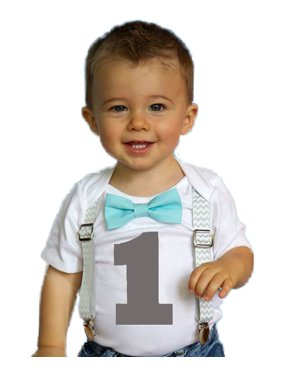 94d164844 Product Image Boys First Birthday Outfit by Noah's Boytique Cake Smash  Outfit Grey Chevron Aqua Bow Grey Number