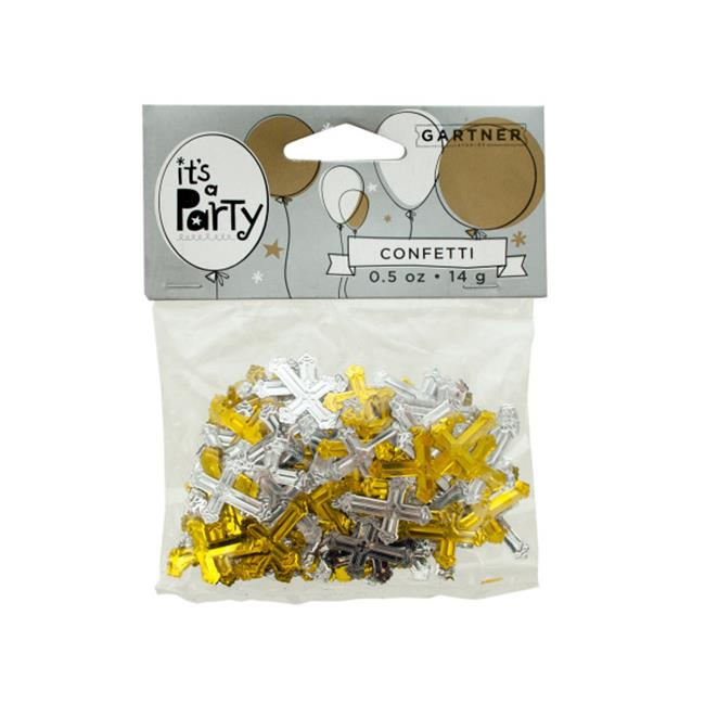 Bulk Buys PB454-72 Gold and Silver Crosses Confetti by Bulk Buys