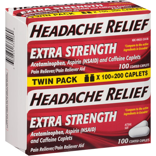 Headache Relief Extra Strength Acetaminophen Pain Reliever/Pain Reliever Aid Coated Caplets, 100 count (Pack of 2)