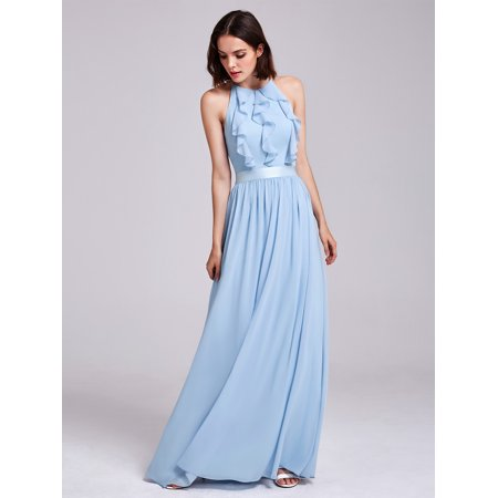 Ever-Pretty Womens Long Halter Pleated Empire Waist Summer Beach Wedding Guest Evening Prom Holiday Party Dresses for Women 07201 Blue US 4 Empire Waist Sash