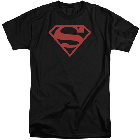 Superman Red On Black Shield Mens Big And Tall Shirt