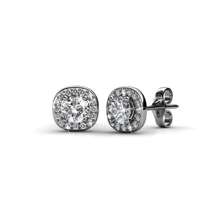 Cate & Chloe Ruth 18k White Gold Halo Studs with Swarovski Stones, Best Silver Earrings for Women, Beautiful Trendy Silver Stud Earring Set, Solitaire Earrings with Swarovski Crystals