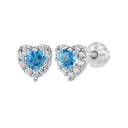 In Season Jewelry 925 Sterling Silver Clear CZ Heart Screw Back Baby Girl Earrings Infants (Toddler Jewelry)