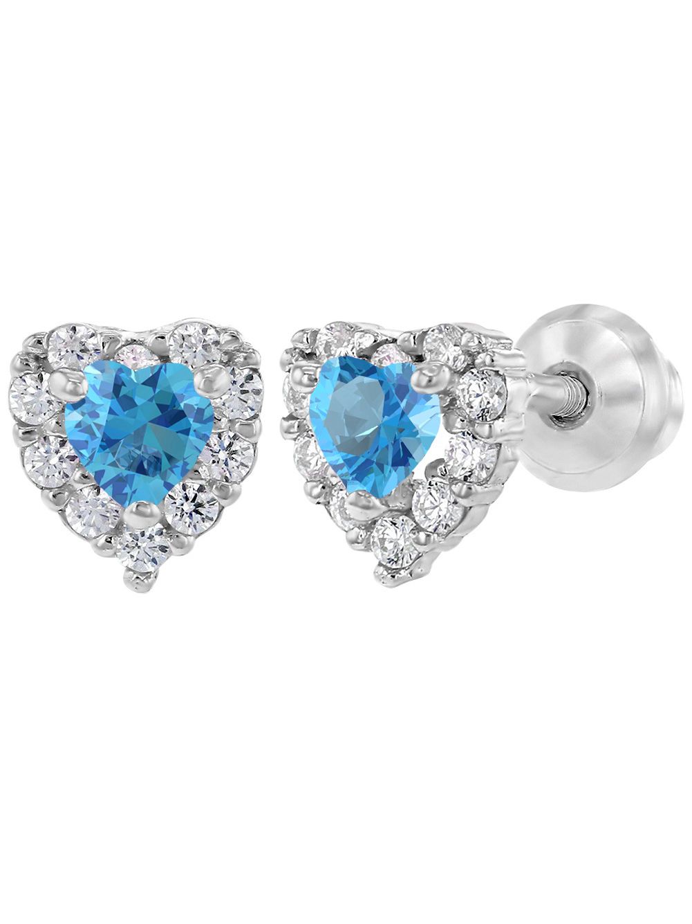 In Season Jewelry 925 Sterling Silver Clear CZ Heart Screw Back Baby Girl Earrings Infants