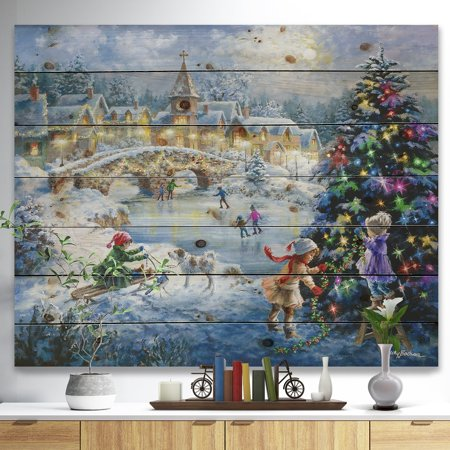 DESIGN ART Designart 'Christmas tree decorating sledding children' Print on Natural Pine Wood - Blue ()
