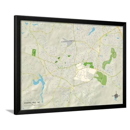Political Map of Chapel Hill, NC Framed Print Wall Art (Chapel Hill Halloween Map)