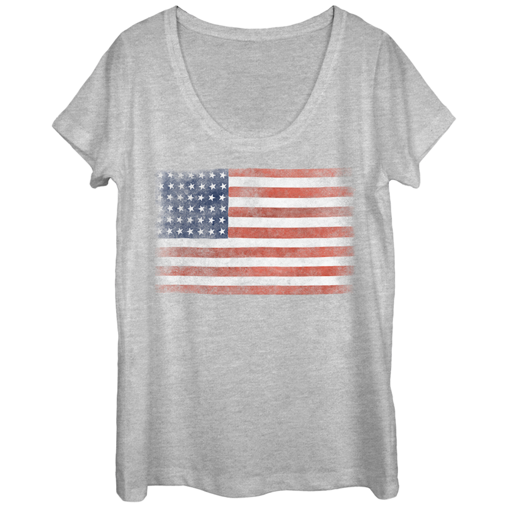 Women's 4th of July Flag Scoop Neck T-Shirt
