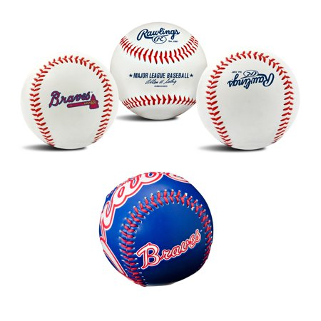 Atlanta Braves MLB Retro and Team Logo Authentic Baseballs Bundle 2 Pack