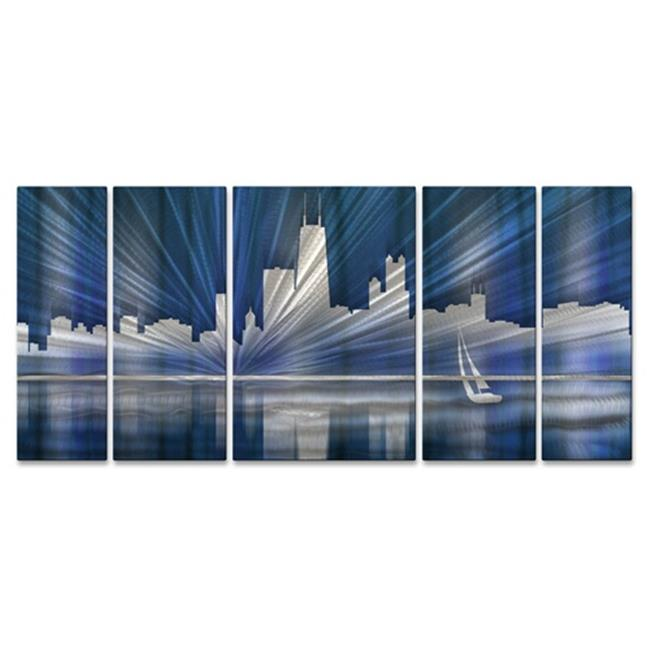 All My Walls Chicago Skyline by Ash Carl 5 Piece Graphic Art Plaque Set