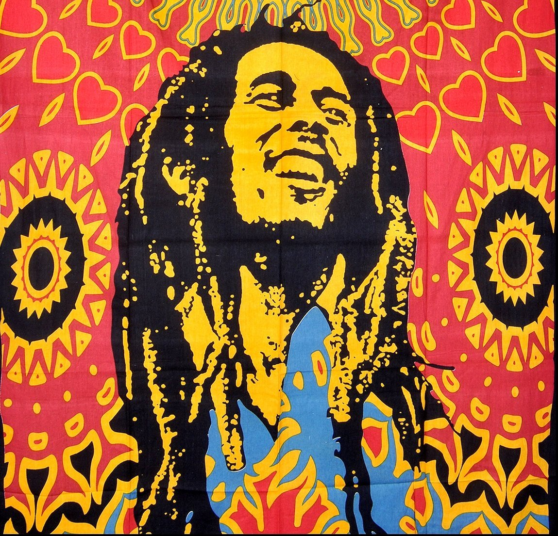 ModTradIndia-Bob Marley Tapestry, Indian Hippie Wall Hanging ...