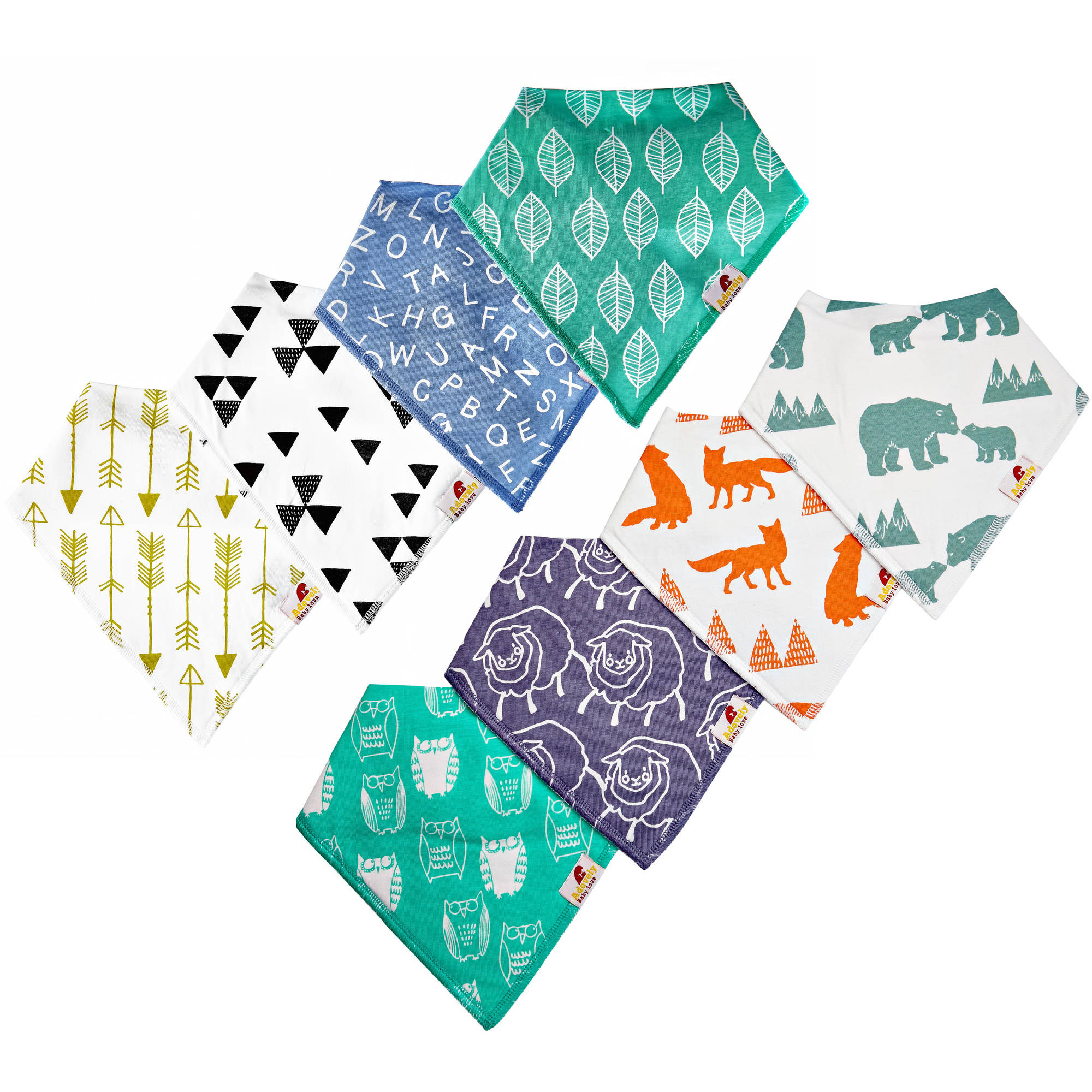Image of Adovely Baby Bandana Drool Bibs, 8-Pack