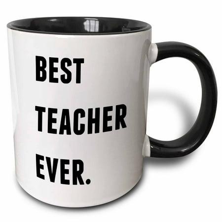 3dRose Best Teacher Ever, Black Letters On A White Background, Two Tone Black Mug, (Best Teacher Bag Ever)