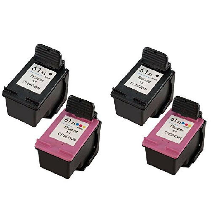 YATUNINK 4PK (2BK/2C) New HP61XL ink cartridge For HP Des...