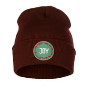 I&W Holiday Christmas Beanie Love Hope Joy Noel Winter Knit Cuffed Beanie Hat