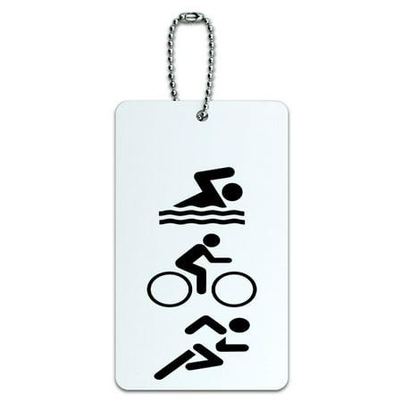 Graphics and More Triathlete Swim Bike Run - Triathlon ID Card Luggage Tag