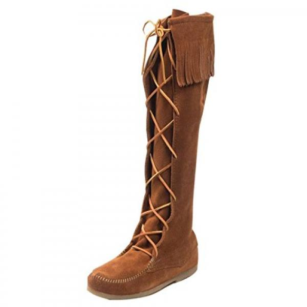 Minnetonka Women's Lace-Up Suede Leather Knee High Boot Brown 6 M US by