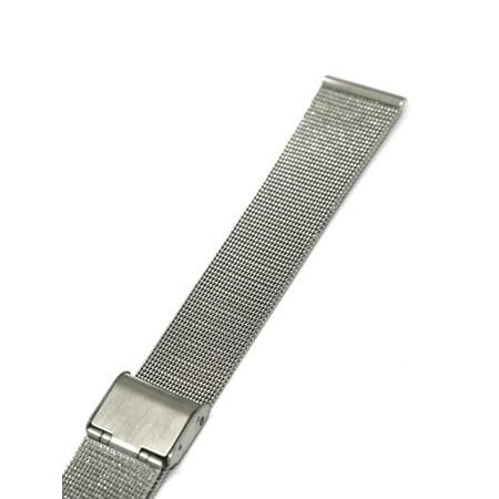 22MM SILVER STAINLESS STEEL MESH METAL BUCKLE WATCH BAND STRAP