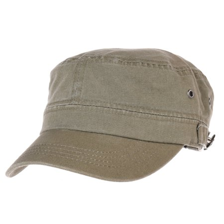 c734fb307 WITHMOONS Cadet Cap Cotton Vintage Washed Army Military Hat CR4455 (Green)