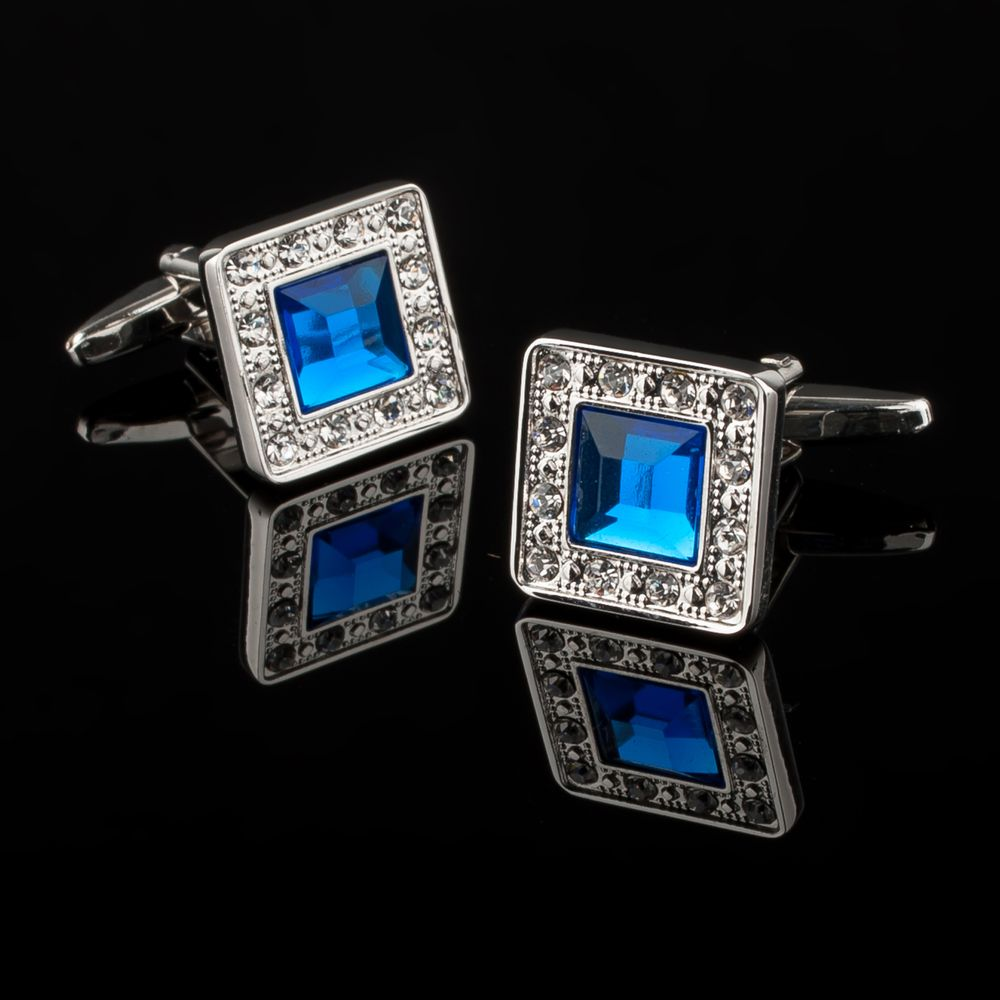 Zodaca Vintage Mens Silver Square Jewels with Blue Diamond Wedding Party Gift Novelty Shirt Cuff links Cufflinks - image 1 de 4