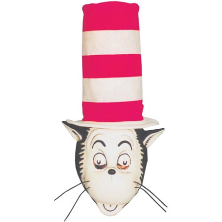 Cat in the Hat Mask and Hat Adult Halloween Accessory (Vintage Halloween Cat Face)