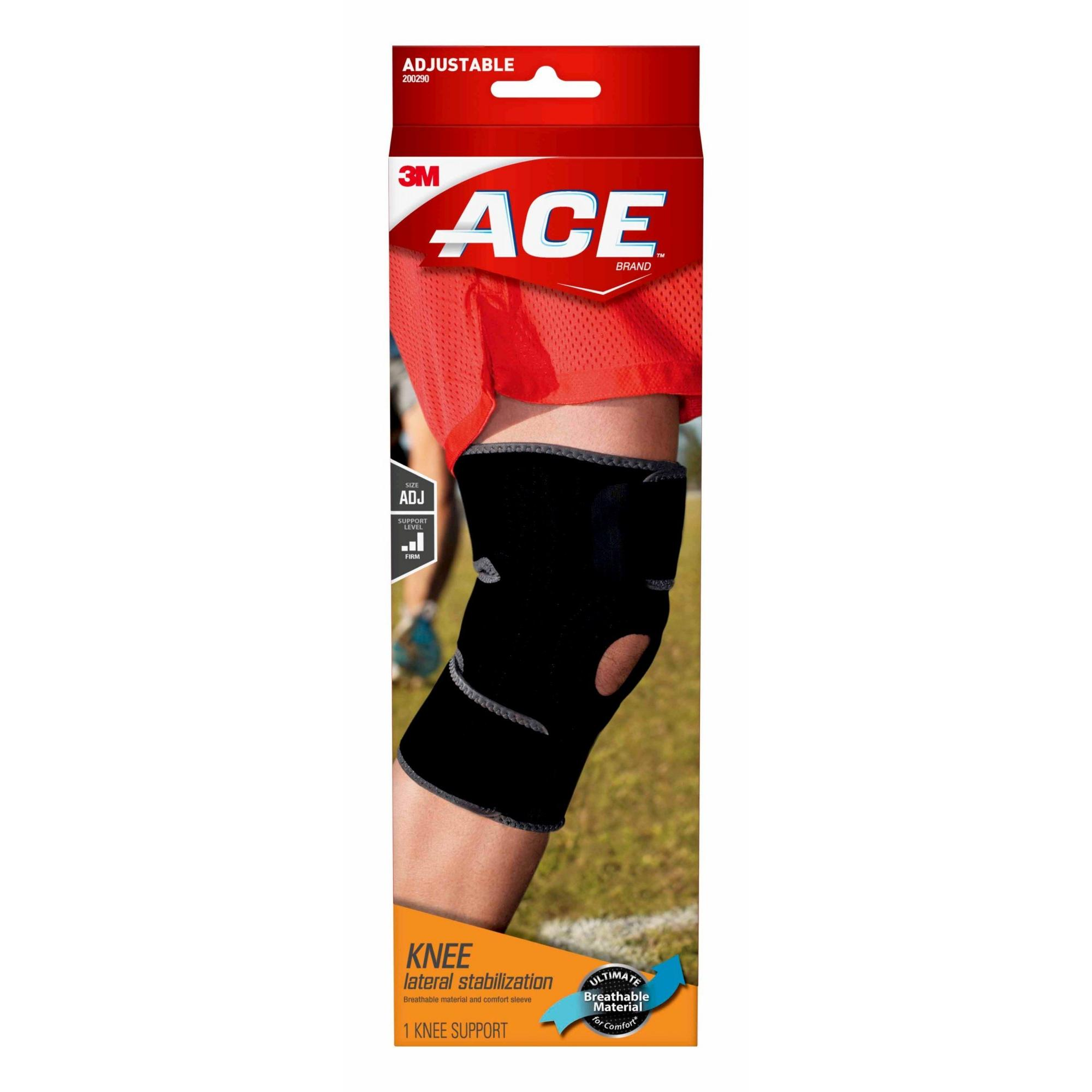 66e60742af ACE Knee Brace with Dual Side Stabilizers, Adjustable, Black/Gray ...