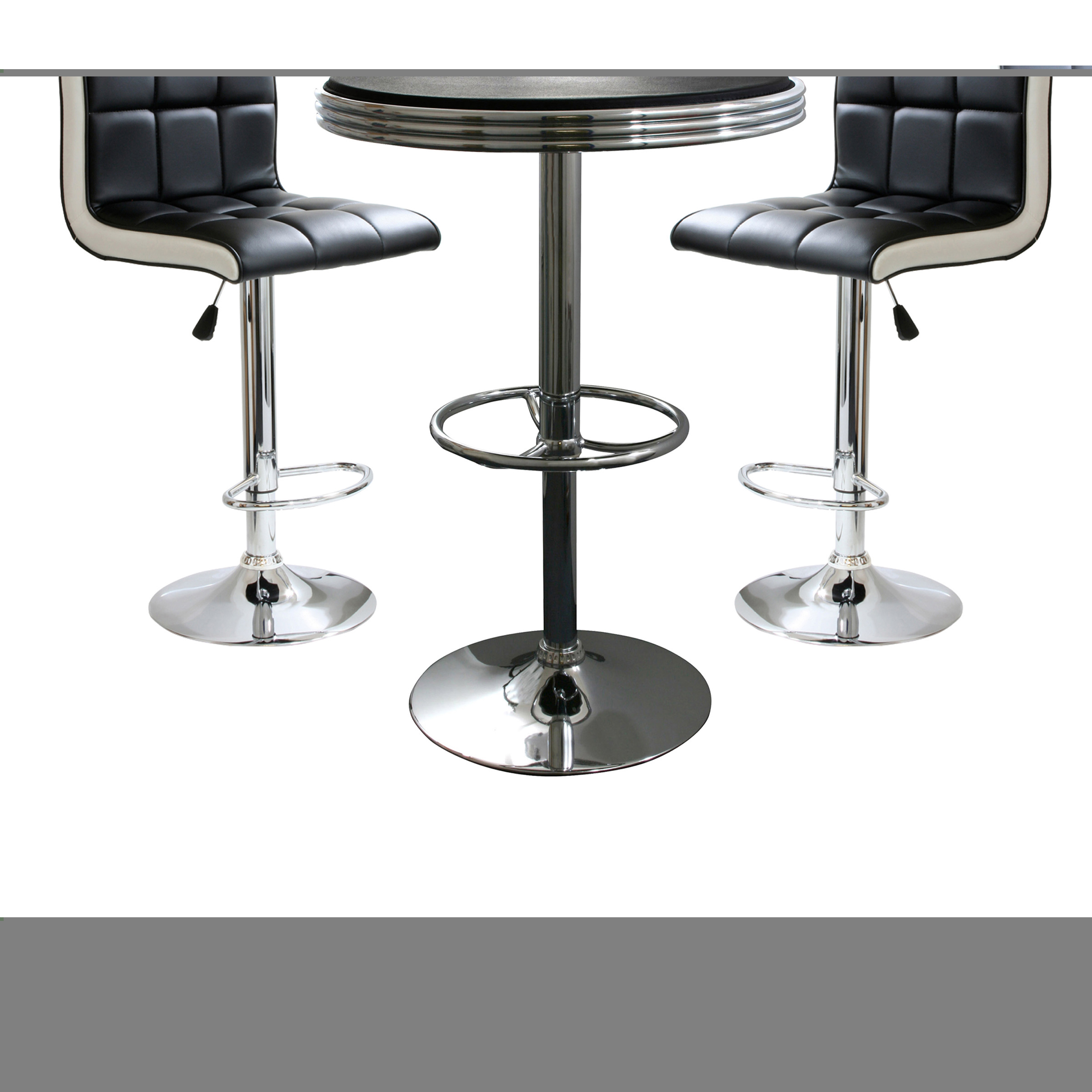 3 Piece Retro 2 Two Tone Adjustable Height Bistro Set Pub Diner Furniture