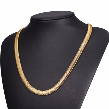 Hot Hip Hop Jewelry Snake Chain Necklace Trendy Stainless Steel Gold Plated Men Gift Chain Necklace 30 INCHES