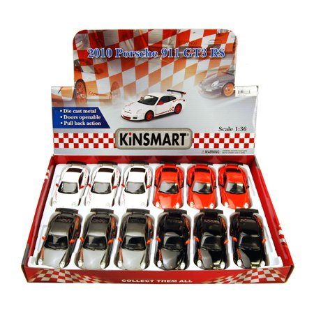 2010 Porsche 911 GT3 RS Diecast Car Package - Box of 12 1/36 scale Diecast Model Cars, Assorted Colors