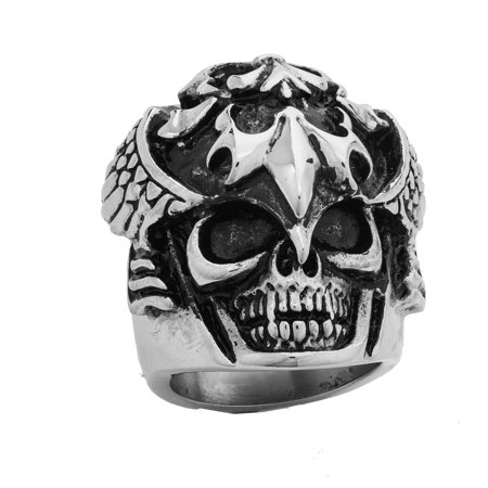 Stainless Steel Heavy and Solid Skull Ring with Wings and Fleur De Lis design (Available in Sizes 10 to 14) Size 11 ()