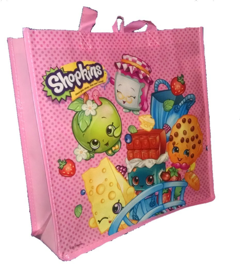 Pink Gift Grocery Shopping Toy Tote Bag Re-Usable, Now your little one can carry the Shopkins everywhere with this reusable tote bag By Shopkins