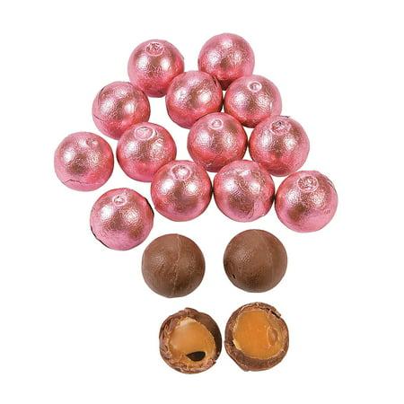 Fun Express - Pink Caramel Chocolate Balls (1lb) - Edibles - Chocolate - Non Branded Chocolate - 37 Pieces (Fun Halloween Caramel Apples)