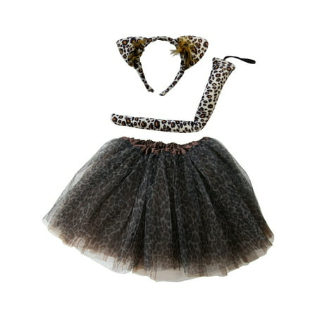 Black Tutu Costumes (So Sydney Kids Teen Adult Plus 2-3 Pc Tutu Skirt, Ears, Tail Headband Costume Halloween)