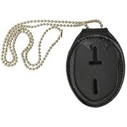 2520TABK Clip on Leather Badge holder with Chain