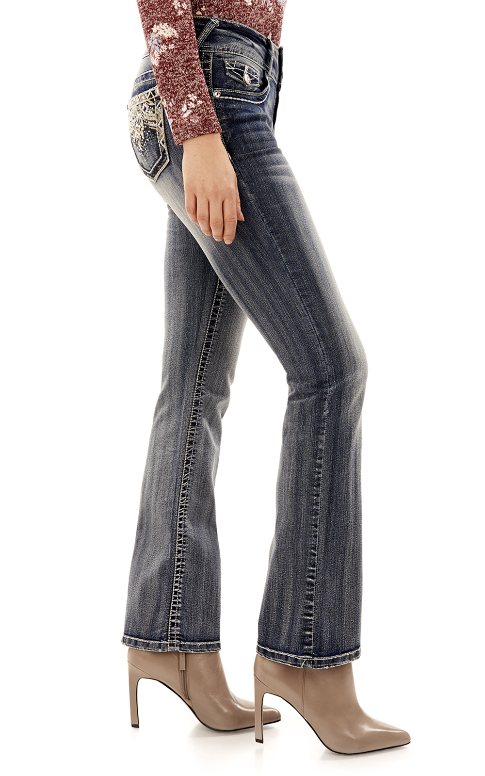 WallFlower Womens Juniors Luscious Curvy Embellished Pocket Skinny Jeans