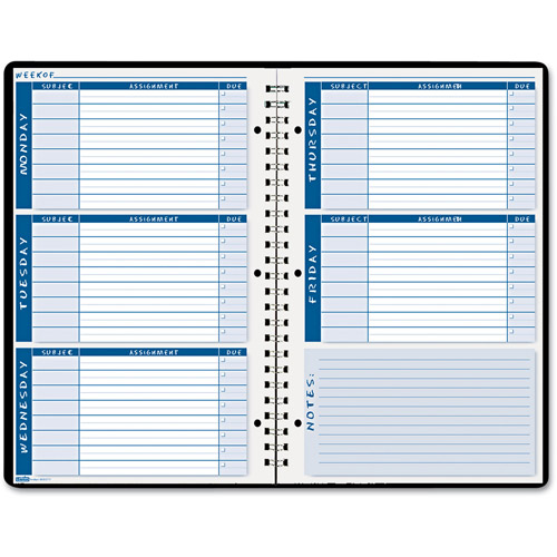 "House of Doolittle Non-Dated Assignment Book for Intermediate Grades, 7"" x 11"", Blue/White Pages"
